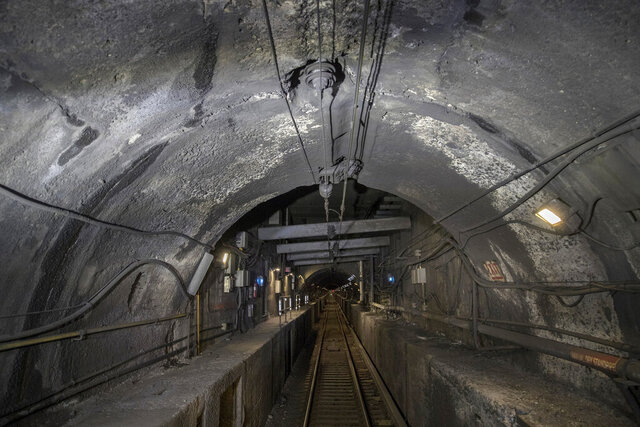 FILE - This Oct. 17, 2018 file pool photo shows damage to the Hudson River rail tunnel in New York. Myriad problems in the Hudson River rail tunnel must be addressed in the next few years to avoid potentially catastrophic failures before a new tunnel is finally built, a soon-to-be-completed study by Amtrak spells out in stark detail. (Victor J. Blue/The New York Times via AP, Pool, File)