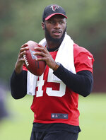 tlanta Falcons linebacker Deion Jones takes part in the opening day of minicamp during NFL football practice in Flowery Branch, Ga., Wednesday, June 12, 2019. (Curtis Compton/Atlanta Journal-Constitution via AP)