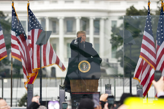 FILE - In this Jan. 6, 2021, file photo President Donald Trump speaks during a rally protesting the electoral college certification of Joe Biden as President in Washington. (AP Photo/Evan Vucci, File)
