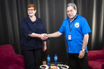 Australian Foreign Minister Marice Payne, left, and New Zealand Foreign Affairs Minister Winston Peters pose for a photo before their meeting in Nauru during the Pacific Island Forum Tuesday, Sept. 4, 2018. The Pacific Islands Forum conference brings together 18 members including Australia and New Zealand to discuss regional issues. ( Jason Oxenham/Pool Photo via AP)