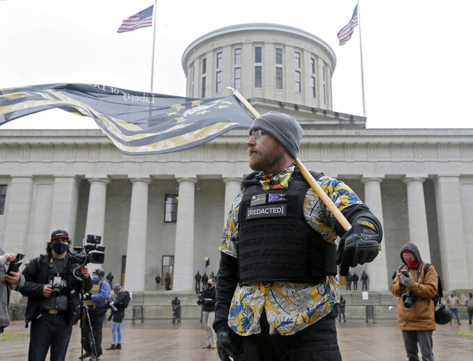 Members of the Boogaloo Boys attend protest Sunday at the Ohio Statehouse in downtown Columbus, Ohio, Sunday, Jan. 17, 2021. (Barbara J. Perenic/The Columbus Dispatch via AP)