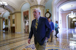 Senate Minority Leader Mitch McConnell, R-Ky., walks to the chamber for final votes before the Memorial Day recess, at the Capitol in Washington, Friday, May 28, 2021. Senate Republicans successfully blocked the creation of a commission to study the Jan. 6 insurrection by rioters loyal to former President Donald Trump. (AP Photo/J. Scott Applewhite)