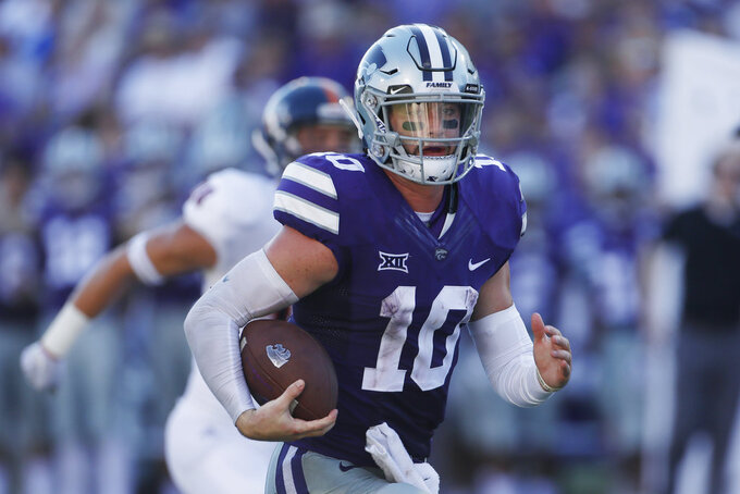 Kansas State quarterback Skylar Thompson (10) rushes for a 27-yard touchdown during the third quarter of a college football game against UTSA in Manhattan, Kan., Saturday, Sept. 15, 2018. (AP Photo/Colin E. Braley)