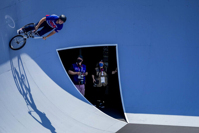 Hannah Roberts of the United States takes part in a BMX Freestyle training session at the 2020 Summer Olympics, Wednesday, July 28, 2021, in Tokyo, Japan. (AP Photo/Ben Curtis)