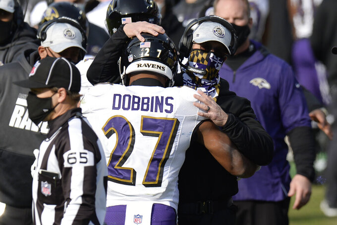 Baltimore Ravens running back J.K. Dobbins (27) is congratulated by head coach John Harbaugh after Dobbins scored a touchdown against the Tennessee Titans in the second half of an NFL wild-card playoff football game Sunday, Jan. 10, 2021, in Nashville, Tenn. (AP Photo/Mark Zaleski)