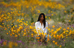 In this Wednesday, March 6, 2019, photo, a woman sits in a field of wildflowers in bloom near Borrego Springs, Calif. Two years after steady rains sparked seeds dormant for decades under the desert floor to burst open and produce a spectacular display dubbed the