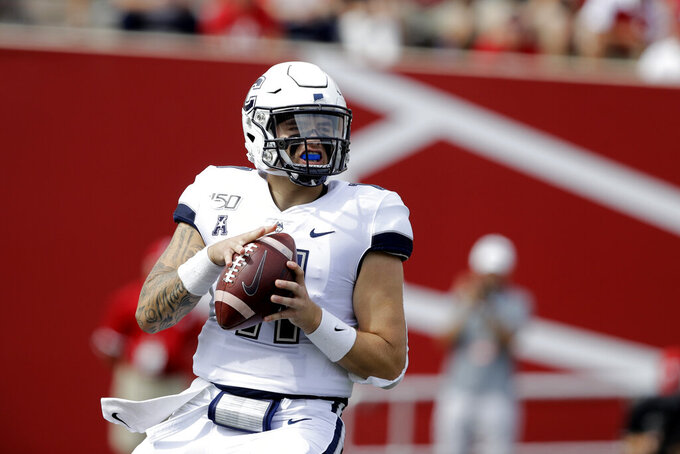 Connecticut quarterback Jack Zergiotis (11) looks to throw during the first half of an NCAA college football game against Indiana, Saturday, Sept. 21, 2019, in Bloomington, Ind. (AP Photo/Darron Cummings)