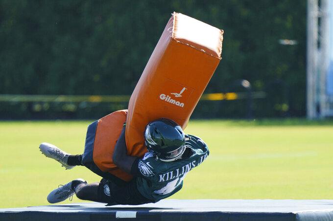 Philadelphia Eagles running back Adrian Killins Jr. runs a drill during practice at NFL football training camp, Thursday, Aug. 5, 2021, in Philadelphia. (AP Photo/Chris Szagola)