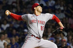 Cincinnati Reds relief pitcher Luis Cessa delivers during the seventh inning of a baseball game against the Chicago Cubs Wednesday, July 28, 2021, in Chicago. (AP Photo/Charles Rex Arbogast)