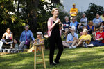 Democratic presidential candidate Sen. Elizabeth Warren speaks during a house party, Friday, Sept. 20, 2019, in Mount Vernon, Iowa. (AP Photo/Charlie Neibergall)
