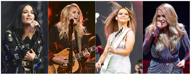 This combination of photos shows country music singers, from left, Kacey Musgraves performing at the Austin City Limits Music Festival in Austin, Texas on Oct. 6, 2019, Miranda Lambert performing at the 53rd annual Academy of Country Music Awards in Las Vegas on April 15, 2018, Maren Morris performing at the Bonnaroo Music and Arts Festival in Manchester, Tenn. on June 15, 2019 and Carrie Underwood performing during her