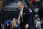 California head coach Mark Fox motions towards the court during the second half of an NCAA college basketball game against Stanford in the first round of the Pac-12 men's tournament Wednesday, March 11, 2020, in Las Vegas. (AP Photo/John Locher)