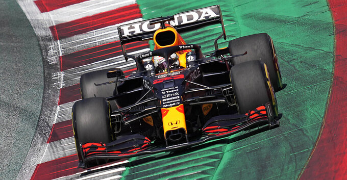 Red Bull driver Max Verstappen of the Netherlands steers his car during the qualifying at the Red Bull Ring racetrack in Spielberg, Austria, Saturday, June 26, 2021. The Styrian Formula One Grand Prix will be held on Sunday, June 27, 2021. (AP Photo/Darko Vojinovic)