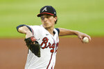 Atlanta Braves' Max Fried pitches against the Washington Nationals during the first inning of a baseball game Saturday, Sept. 5, 2020, in Atlanta. (AP Photo/John Amis)