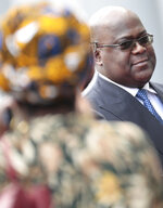 Democratic Republic of Congo President Felix Tshisekedi, right, during an arrival ceremony at the Egmont Palace in Brussels, Tuesday, Sept. 17, 2019. (AP Photo/Virginia Mayo)