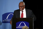 FILE - In this May 5, 2017, file photo,  Supreme Court Justice Clarence Thomas speaks at the Bar Association of Metropolitan St. Louis in St. Louis. Thomas and his wife, Ginni, take to the road in a 40-foot RV most summers. They hit 23 states last summer, he said Monday, June 3, 2019, in a talk in the courtroom sponsored by the Supreme Court Historical Society. (AP Photo/Jeff Roberson, File)