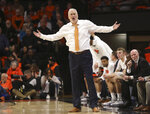 Oregon State head coach Wayne Tinkle reacts to a call during the second half of the team's NCAA college basketball game against Stanford in Corvallis, Ore., Thursday, Feb. 7, 2019. Stanford won 83-60. (AP Photo/Amanda Loman)