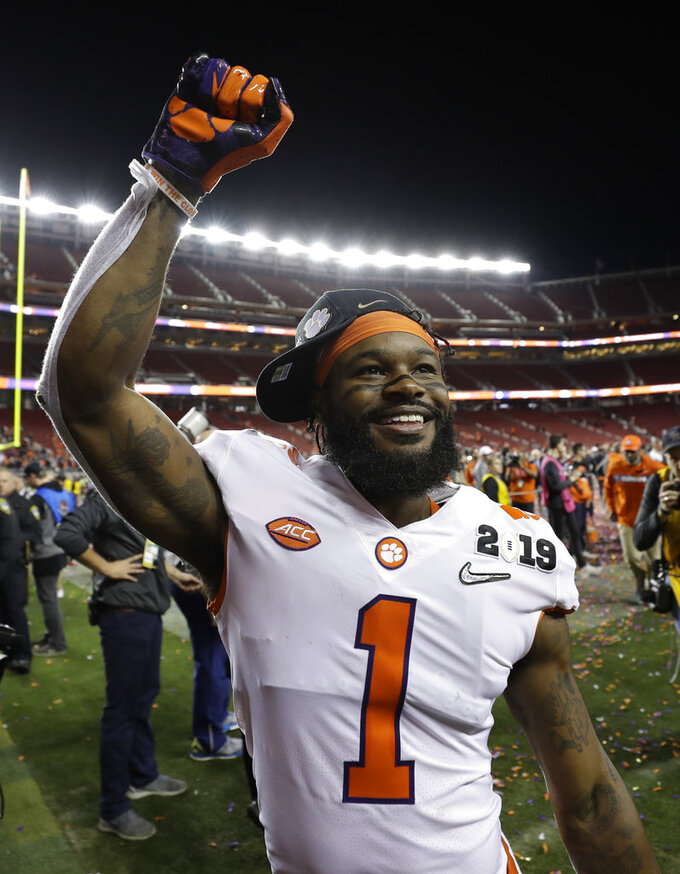 Clemson's Trevion Thompson celebrates after the NCAA college football playoff championship game against Alabama, Monday, Jan. 7, 2019, in Santa Clara, Calif. Clemson beat Alabama 44-16. (AP Photo/David J. Phillip)