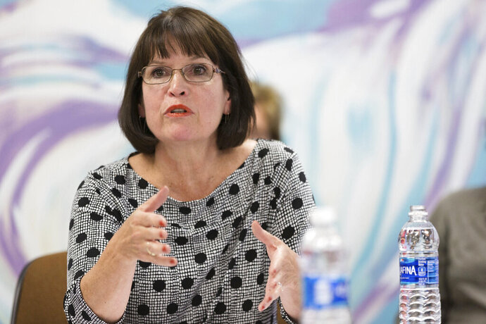 ADVANCE FOR USE SATURDAY AUG. 17 - In this Oct. 3, 2016 photo, Rep. Betty McCollum speaks during a roundtable at Hillary for Minnesota Headquarters in St Paul, MN. McCollum has said that she supports Israel as a key U.S. ally. But she is different from other members of Congress in her consistent criticism of Israel on human rights issues.