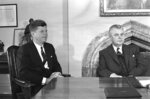 FILE - In this May 17, 1961 file photo, U.S. President John Kennedy and Prime Minister John Diefenbaker meet to begin talks on U.S. and Canadian problems in Ottawa, Canada. In the early 1960s, there was a bitter rift between the two countries because of personal enmity between Kennedy and Diefenbaker, who balked at U.S. pressure to be more aggressive in Cold War maneuverings. (AP Photo)