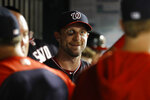Washington Nationals starting pitcher Max Scherzer walks in the dugout in the seventh inning of the second baseball game of a doubleheader against the Philadelphia Phillies, Wednesday, June 19, 2019, in Washington. Washington won 2-0. (AP Photo/Patrick Semansky)