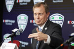 FILE - In this March 12, 2020, file photo, Mid-American Conference commissioner Jon Steinbrecher speaks to the media in Cleveland. The Mid-American Conference on Saturday, Aug. 8, 2020, became the first league competing at college football's highest level to cancel its fall season because of COVID-19 concerns. With the MAC's 12 schools facing a significant financial burden by trying to maintain costly coronavirus protocols, the conference's university presidents made the decision to explore a spring season. (AP Photo/Tony Dejak, File)