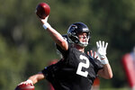 FILE - In this July 22, 2019, file photo, Atlanta Falcons quarterback Matt Ryan (2) throws a pass during their NFL training camp football practice in Flowery Branch, Ga. Last season's decline was not acceptable only two years after Ryan led the 2016 Falcons to the Super Bowl. (AP Photo/John Bazemore, File)