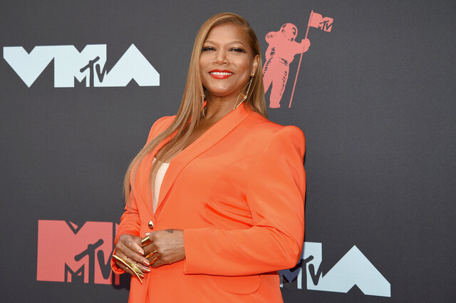 """FILE - In this Aug. 26, 2019 file photo, Queen Latifah arrives at the MTV Video Music Awards in Newark, N.J. Queen Latifah, Rebecca Breeds and Thomas Middleditch are set to star in three new CBS shows for the 2020-21 season as the network adds a reimagined """"Equalizer,"""" a show based on """"The Silence of the Lambs"""