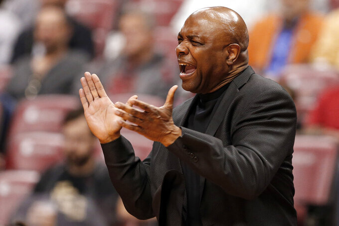 FILE - In this Dec. 22, 2018, file photo, Florida State head coach Leonard Hamilton reacts during the first half of an NCAA college basketball game against Saint Louis in Sunrise, Fla. Florida State is a desirable destination for top basketball players because of the successful foundation built by the 71-year-old Hamilton. (AP Photo/Joe Skipper, File)