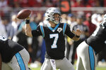 Carolina Panthers quarterback Kyle Allen throws during the first half of an NFL football game against the San Francisco 49ers in Santa Clara, Calif., Sunday, Oct. 27, 2019. (AP Photo/Ben Margot)