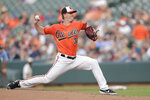 Baltimore Orioles starting pitcher Thomas Eshelman delivers to a Boston Red Sox batter during the second inning of a baseball game, Saturday, July 20, 2019, in Baltimore. (AP Photo/Julio Cortez)