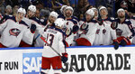 Columbus Blue Jackets right wing Cam Atkinson (13) celebrates with the bench after his goal against the Tampa Bay Lightning during the first period of Game 2 of an NHL Eastern Conference first-round hockey playoff series Friday, April 12, 2019, in Tampa, Fla. (AP Photo/Chris O'Meara)