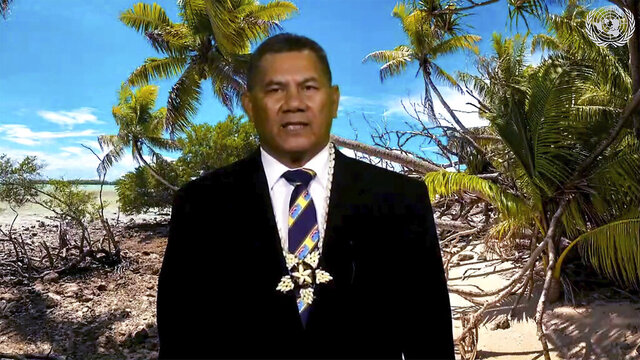 In this image made from UNTV video, Kausea Natano, Prime Minister of Tuvalu speaks in a pre-recorded message which was played during the 75th session of the United Nations General Assembly, Friday, Sept. 25, 2020, at UN headquarters.  (UNTV via AP)