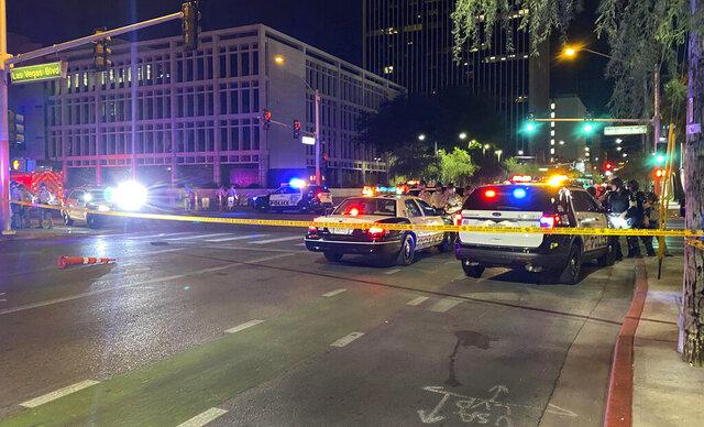 Las Vegas Police block off Las Vegas Boulevard South after a shooting in front of a federal courthouse during a Black Lives Matter protest in downtown Las Vegas Monday, June 1, 2020. (Christopher DeVargas/Las Vegas Sun via AP)