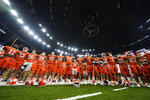 Clemson gathers after their loss against Ohio State in the Sugar Bowl NCAA college football game Friday, Jan. 1, 2021, in New Orleans. Ohio State won 49-28. (AP Photo/Gerald Herbert)
