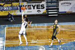 Gonzaga guard Andrew Nembhard (3) goes in for the fastbreak layup during the first half of an NCAA college basketball game against Iowa, Saturday, Dec. 19, 2020 in SIoux Falls, S.D. (AP Photo/Josh Jurgens)