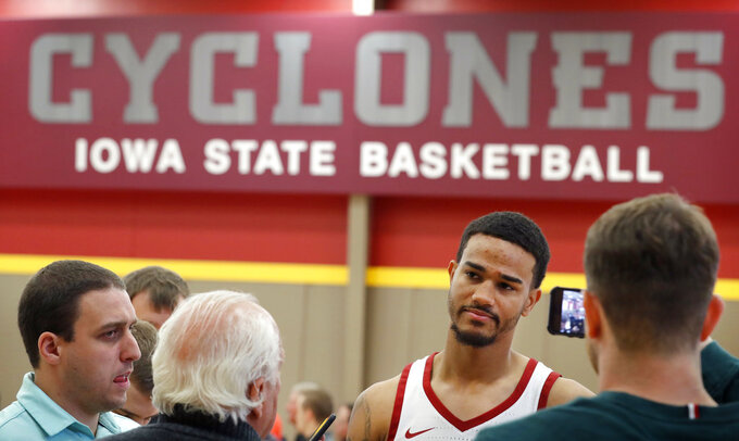 Iowa State guard Nick Weiler-Babb speaks to reporters during Iowa State's NCAA college basketball media day, Thursday, Oct. 11, 2018, in Ames, Iowa. (AP Photo/Charlie Neibergall)