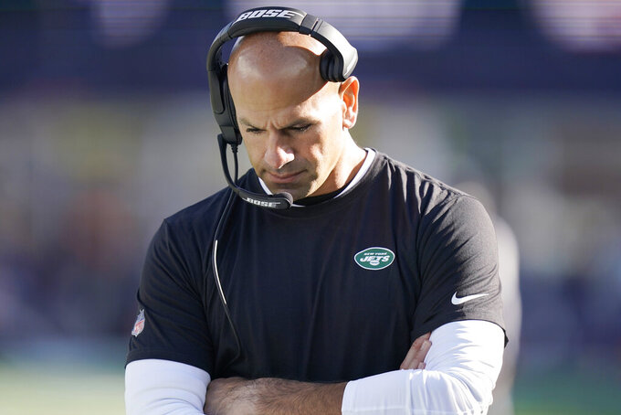 New York Jets head coach Robert Saleh walks the sidelines during the second half of an NFL football game against the New England Patriots, Sunday, Oct. 24, 2021, in Foxborough, Mass. (AP Photo/Steven Senne)