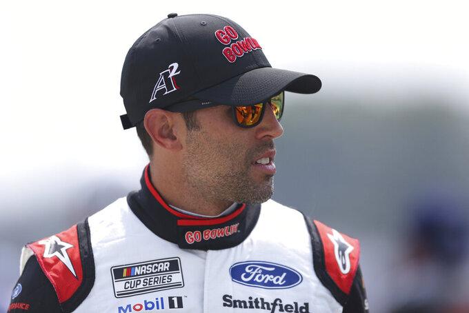 Aric Almirola before a NASCAR Cup Series auto race in Watkins Glen, N.Y., on Sunday, Aug. 8, 2021. (AP Photo/Joshua Bessex)