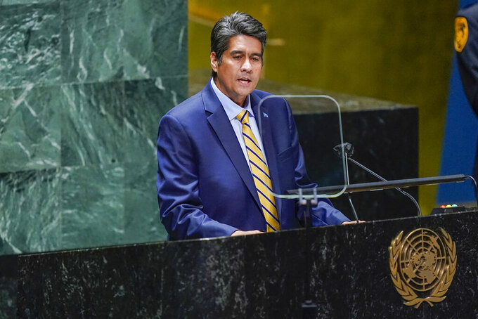 Palau's President Surangel Whipps is seen on a video screen as addresses the 76th Session of the United Nations General Assembly remotely, Tuesday, Sept. 21, 2021 at U.N. headquarters. (AP Photo/Mary Altaffer, Pool)