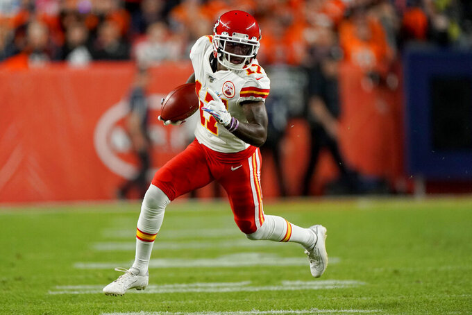 Kansas City Chiefs wide receiver Mecole Hardman (17) runs against the Denver Broncos during the first half of an NFL football game, Thursday, Oct. 17, 2019, in Denver. (AP Photo/Jack Dempsey)