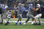 Memphis quarterback Brady White (3) throws against Penn State in the first half of the NCAA Cotton Bowl college football game, Saturday, Dec. 28, 2019, in Arlington, Texas. (AP Photo/Ron Jenkins)