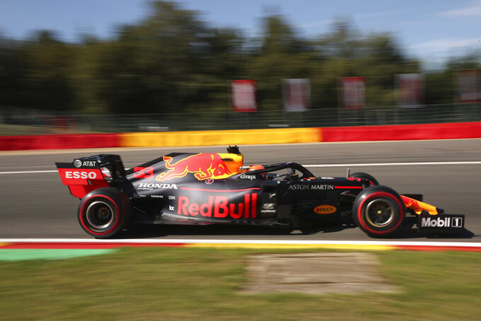 Red Bull driver Max Verstappen of the Netherlands steers his car during the first practice session ahead of the Belgian Formula One at Spa-Francorchamps, Belgium, Friday, Aug. 30, 2019. The Belgian Formula One race will take place on Sunday. (AP Photo/Francisco Seco)