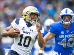 Navy quarterback Malcolm Perry (10) runs with the ball against Air Force during an NCAA college football game at Falcon Stadium at the U.S. Air Force Academy, Saturday Oct. 6, 2018, in Colorado Springs, Colo.  (Dougal Brownlie,/The Gazette via AP)