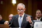 Environmental Protection Agency Administrator Scott Pruitt testifies before a Senate Appropriations subcommittee on the Interior, Environment, and Related Agencies on budget on Capitol Hill in Washington, Wednesday, May 16, 2018.  (AP Photo/Andrew Harnik)