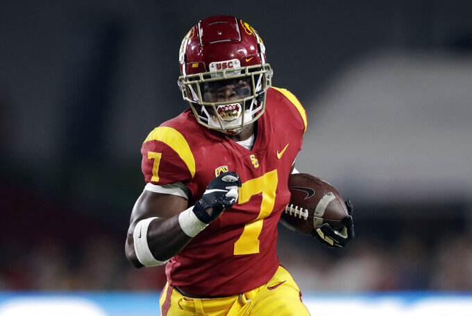 Southern California running back Stephen Carr scores a rushing touchdown against Stanford during the first half of an NCAA college football game Saturday, Sept. 7, 2019, in Los Angeles. (AP Photo/Marcio Jose Sanchez)