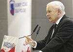 In this photo taken Tuesday Oct. 8, 2019 Poland's ruling right-wing party leader Jaroslaw Kaczynski speaks at a convention in Warsaw, Poland, ahead of Sunday parliamentary election in which his Law and Justice party is hoping to win a second term in power. (AP Photo/Czarek Sokolowski)