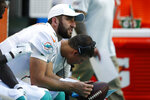 FILE - In this Sunday, Sept. 8, 2019, file photo, Miami Dolphins quarterback Josh Rosen (3) looks up from the sidelines during the second half at an NFL football game in Miami Gardens, Fla. You can take that