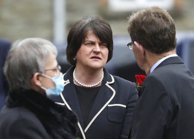 First Minster of Northern Ireland Arlene Foster attends former Northern Ireland lawmaker and Nobel Peace Prize winner John Hume's funeral Mass at St Eugene's Cathedral in Londonderry, Northern Ireland, Wednesday, Aug. 5, 2020. Hume was co-recipient of the 1998 Nobel Peace Prize with fellow Northern Ireland lawmaker David Trimble, for his work in the Peace Process in Northern Ireland. (AP Photo/Peter Morrison)