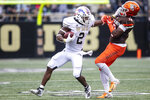 Western Michigan Broncos running back LeVante Bellamy (2) stiff arms Bowling Green Falcons defensive back Jordan Anderson (18) during the second quarter of an NCAA college football game in Kalamazoo, Mich., on Saturday, Oct. 26, 2019. (Joel Bissell/Kalamazoo Gazette via AP)